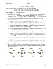 Newtonslaws7 Newton S Laws Name Newton S Second Law Of Motion Read