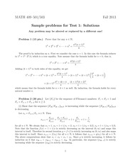 Sample Exam 1 Solution on Advanced Calculus 1
