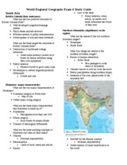 World Regional Geography Exam 4 Study Guide
