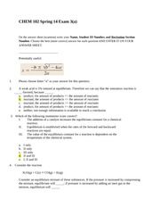 CHEM 102 Spring 14 Exam3a with answers