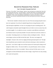 Descriptive Paragraph Assignment