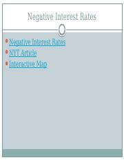 Negative Interest Rate Article Links