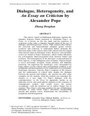 alexander pope an essay on criticism full text The first step towards understanding pope's criticism essay is to read the alexander pope essay on criticism full text it may sound complicated for you but do not worry.