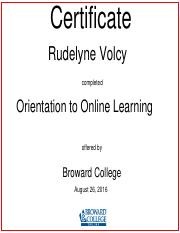 Rudelyne Volcy-Orientation to Online Learning