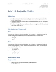 Lab 111- Projectile Motion