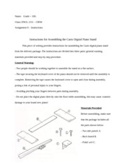Writing Assignment - Procedure Instructions for Assembling Piano Stand