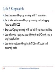 LectureWeek4 - Lab3 pdf - Lab 3 Stopwatch Exercise assembly