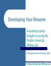 Develop Resumes