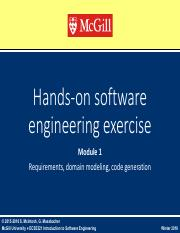 02a 2016-01 ECSE321 Hands-on SE Exercises - Requirements & Code Generation.pdf