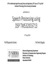 Speech Processing using DSP6713