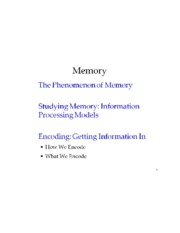 Introduction to Psychological Measurement MEMORY