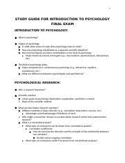 Introduction to Psychology Study Guide for Final Exam.docx