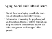 Aging - Social and Cultural Issues Fall 2011