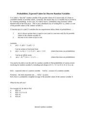 probability for discrete random variablesnotes