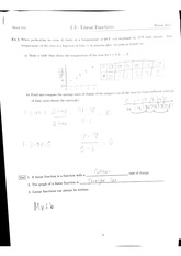 Math 111 1.3 Linear Functions Notes