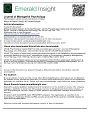 Psychological Capital Article