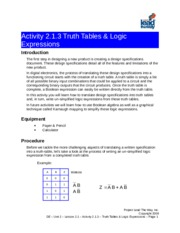 A2.1.3 Truth Tables Logic Expressions(1)