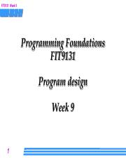 Week 9 Lecture - program design