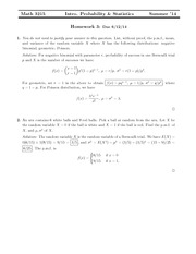 Homework 3 Solution on Probability and Statistics