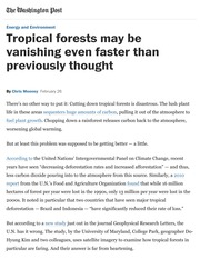 Mooney.Tropical forests may be vanishing even faster than previously thought - The Washington Post