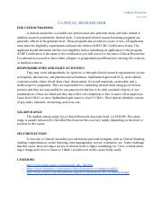 Clinical Researcher Career Journal.docx