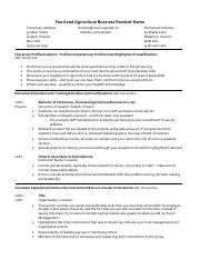 Resume example - Food and Ag Business 2