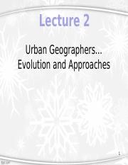 Lecture 2 - Urban Geographers