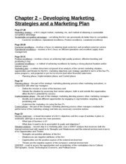 Study Guide - Chapter 2 - Developing Marketing Strategies and a Marketing Plan