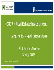 C307 - 2015 - Lec 05 - Real Property Taxation