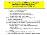 2012 Fall CHEME 6660 L 6-8 Thermo 1st and 2nd Laws and availability