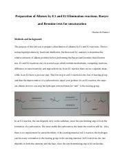 The purpose of this lab was to prepare a distribution of alkenes by E1 and E2 reactions