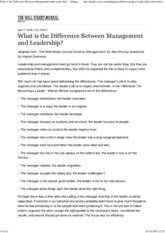 What is the Difference Between Management and Leadership_ - Management - WSJ