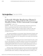 Colorado Weighs Replacing Obama's Health Policy With Universal Coverage - The New York Times