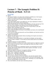 Rel 155 Lecture 7 - Priority of Mark