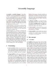 Lecture 3 - Reading - Assembly language
