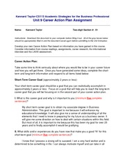 Kennard Taylor-Unit9-CareerActionPlan(1) academic stategies