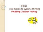 IE2101 Modeling Decision Making Handout