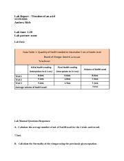 Lab Report - titration of an acid.docx