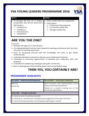 Young Leaders Programme - Application Form - F