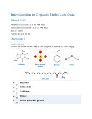 BIOL 101 Introduction to Organic Molecules Quiz.docx