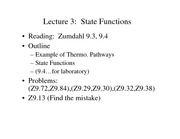 Lecture 3 on State Functions