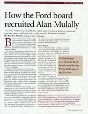 Carey, D., & Keller, J. J. (2012). How the Ford board recruited Alan Mulally. Directors & Boards, 37