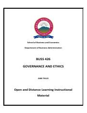 BUSS 426-Governance and Ethics