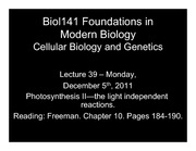 Lecture 39 Photosynthesis II