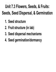 Unit 7.3  Seeds, seed dispersal, dormancy