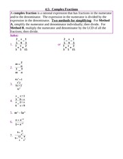 4.5-6 ComplexFractions,Equations