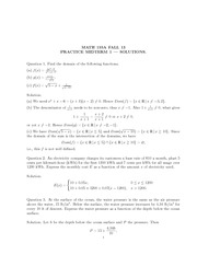 Math 155a_Exam Solutions on Functions and its Domains, Trigonometric Expressions and Equations, Limi