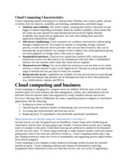 Cloud Computing Characteristics(1)
