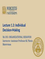 lecture 1.3 Individual Decision-Making(1) (1)
