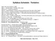 Syllabus Schedule Tentative